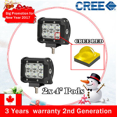 Pair 4inch 18W CREE LED WORK LIGHT BAR FLOOD OFFROAD UTE REVERSING 4WD ATV SUV 3