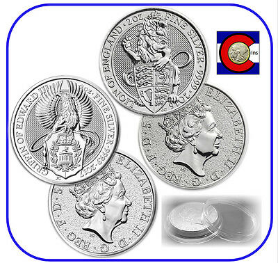 2016 & 2017 UK Queen's Beast Lion & Griffin Silver Coins w/ Mint Screw Capsules