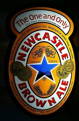 """LARGE Newcastle Brown Ale Light Up Beer Pub Bar Sign, 24"""" x 16"""" x 8"""""""