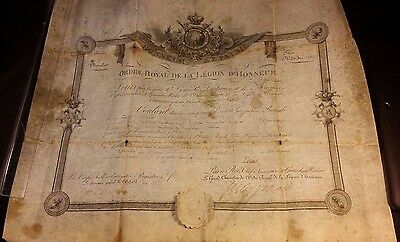 1820 King Louis XVIII Knight Patent Diploma Royal Order of the Legion of Honor