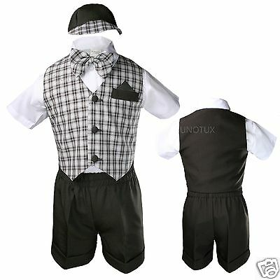 Brown Baby Boy Infant Toddler Formal Party Gingham Shorts Vest Set Suit sz S-4T