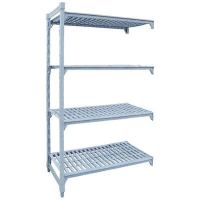 Add-On Shelving Kit w Vented Shelves, 4 Tier, Poly Coated Steel, 1220x455x1800mm