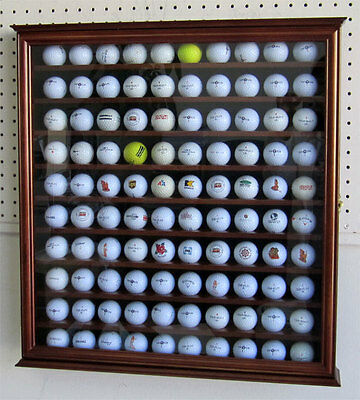 110 Golf Ball Display Case Holder Wall Cabinet, UV Protection, GB05-WALN