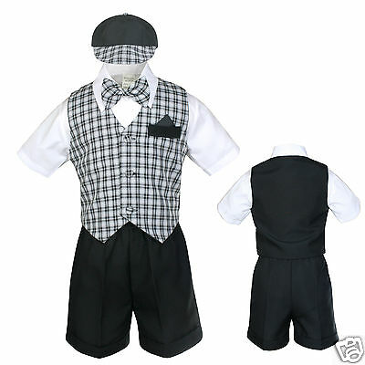 Baby Boy & Toddler Formal Wedding Party Vest Suit New born to 4T black & white