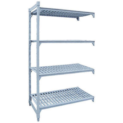 Add-On Shelving Kit w Vented Shelves, 4 Tier, Poly Coated Steel, 1825x455x1800mm