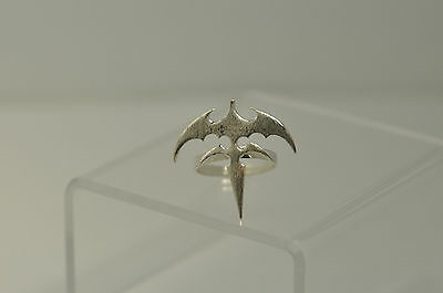 TriRyche Sterling Silver 925 Queensryche Vampire Dagger Bat Ring Gothic Jewelry