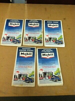 vintage MOBIL ROAD MAPS states lot of 5