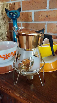 Glass Crown Pyrex  1960's retro coffee jug with warming stand ANODISED