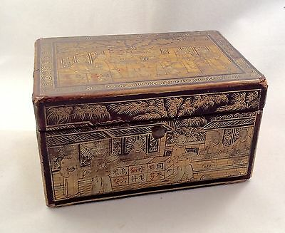Antique Chinese Chinoiserie Black & Gold Small Tea Caddy Box