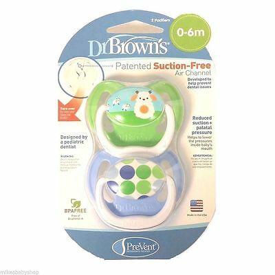 New Dr. Brown's 0-6 mo 2 Pack PreVent Orthodontic Pacifi - Green Sheep/Blue Dots