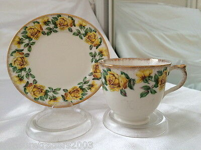 ♡ Salisbury England Duo Teacup & Side Plate Yellow Roses Brushed Gold Edge