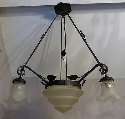 Vintage French Wrought Iron & Glass Art Deco Chandelier C1930's, Four lights