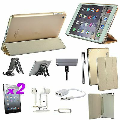 Gold Leather Case Cover Dock Charger Earphones Accessory Bundle For iPad Air 1