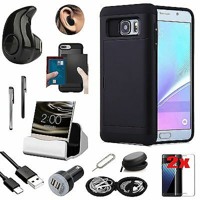 Case+Bluetooth Headset Earphone+Charger Accessory Kit For Samsung Galaxy S7 G930