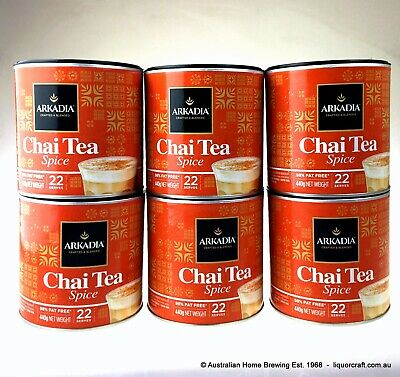 6 x Arkadia Chai Latte Spice 440g Chai Tea Spice Chai Powder cafe