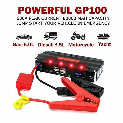 80000mAh Car Jump Starter Booster Power Portable Bank Battery Charger 4 USB UK