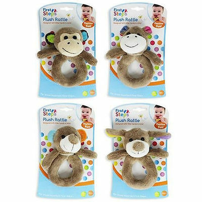 First steps Newborn Baby's Plush Bear Rattle Toy 2 Pack