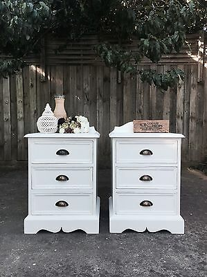 2x Provincial White shabby chic Bedside Side Lamp Tables Set Of 3 Drawers