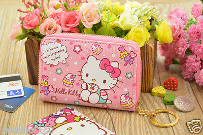 Hello Kitty Pink Photo ID Card Case Holder Bag Purse key Rings KK716