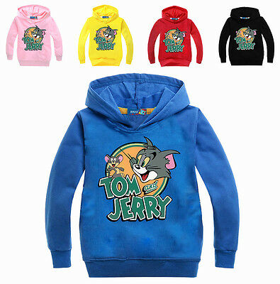 Kids Boy Girl Tom and Jerry Hooded Sweater Sweatershirt Tops Children Clothing