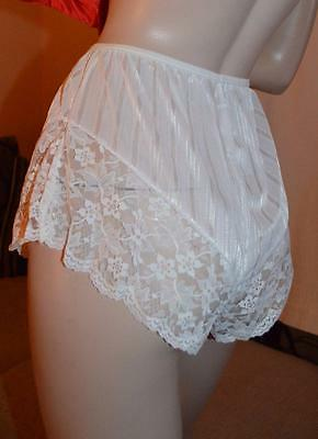 White Glossy silky vintage wet look satin & lace French knickers uk 8-12