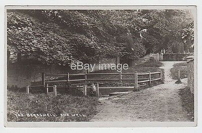 Berkswell - children by the well + rectory gate (Lewis) RP postcard nr Coventry