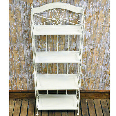 Vintage Shabby Chic French Style 4 Shelf Bakers Rack Folding Display