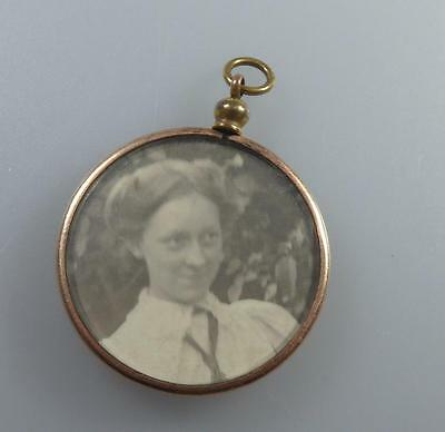 OLD GOLD PLATE PHOTO LOCKET- DOUBLE SIDED - c.1910 OR PINCHBECK?