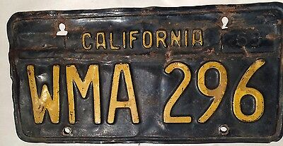 California LICENSE PLATE Tag YELLOW ON BLACK 1963 WMA296