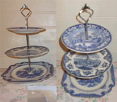Vintage 3 Tier Trinket Cake Stand Display Blue White Country Life Scene Mixed