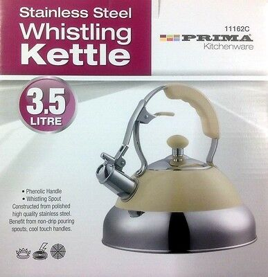 3.5L stainless Steel stove top Whistling Kettle Boat Hob Gas Electric cream gift
