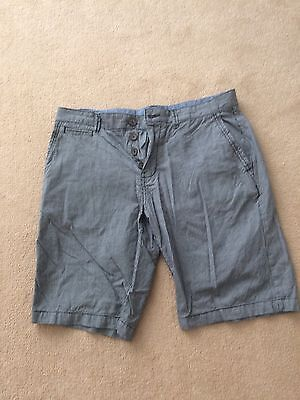 George Casual Outfitters Blue Cotton Shorts with Pockets, Size 34 Waist