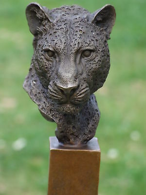 Leopard Lion Tiger Panther Signed Pure Bronze Statue