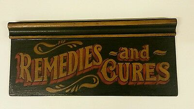 chemist pharmacy remedies poison bottle vintage antique apothecary wood sign
