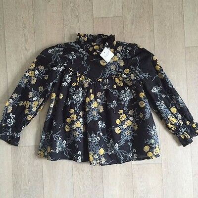Bonpoint Girls Blouse 4A Delphie Shirt Black Floral Print L Sleeve Nwt Sold Out