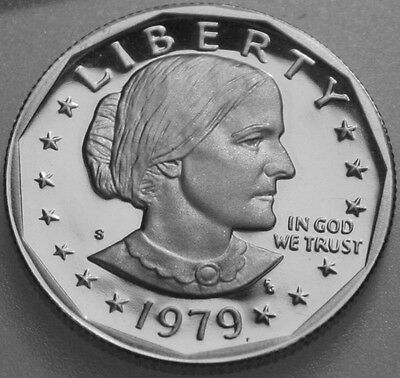 1979-S Susan B Anthony Dollar Clad Proof Variety 2 Type 2 Clear S Deep Cameo