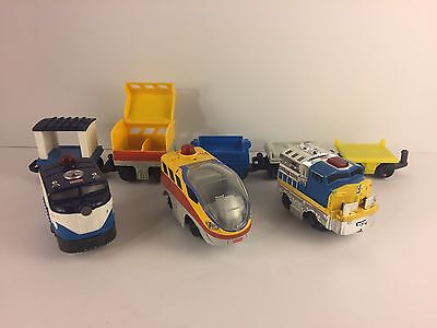 Lot Of 8 Fisher Price GeoTrax Mixed Push Train Engines Cars & Vehicles