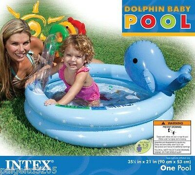 Intex Dolphin Baby Pool - Blue 35.5 in x 21 in
