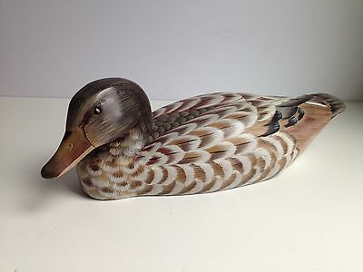 """14.5"""" Carved Heavy Wooden Duck Decoy, Handpainted"""