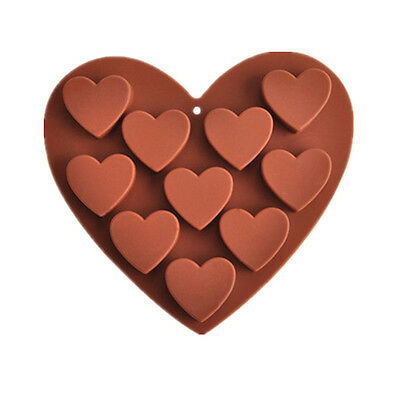 10 Cups Heart Shaped Chocolate Mold Candy Mould Silicon DIY Kitchen Baking Tool