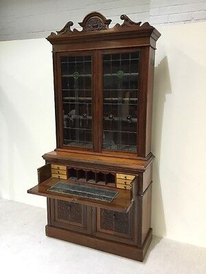 Antique Victorian Secretaire Bookcase Stain Glass Leaded Doors Super Quality