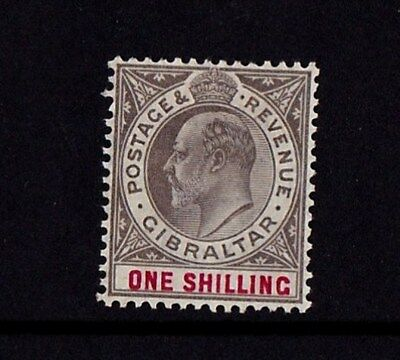 Gibraltar 1903 1/- Black and Carmine SG 51 Mounted Mint