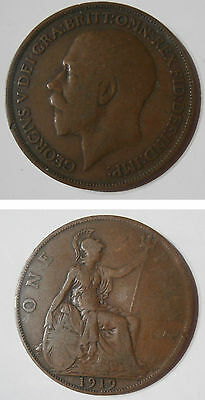 1919 British penny coin - George V