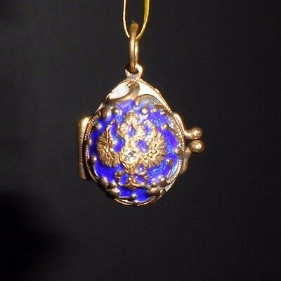 Russian Faberge Egg Pendant Sterling Silver 925 Gold Plated Blue Imperial Eagle