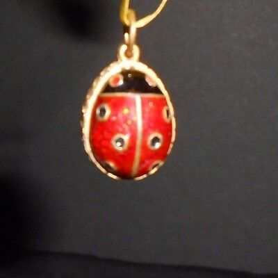 Russian Faberge Egg Pendant Sterling Silver 925 Gold Plated Lady Bug Red