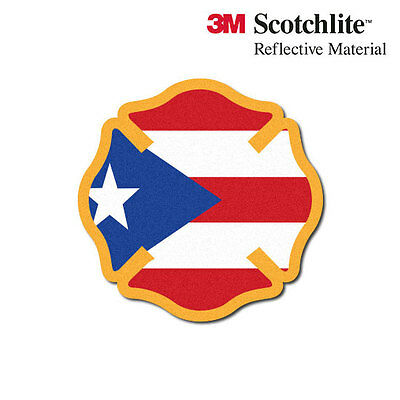 3M Reflective Fire Helmet Decal - Puerto Rico Flag Maltese
