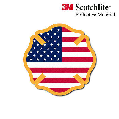3M Reflective Fire Helmet Decal - USA Flag Maltese