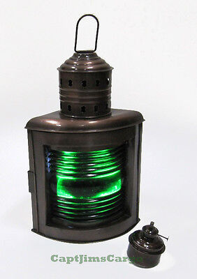 "Maritime Metal Starboard Oil Lantern 14"" Lamp Fresnel Lens Nautical Decor"