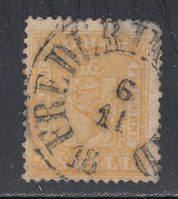 Norway 6 1863 2s Yellow Coat of Arms Thinned Upper Right Corner SCV $300