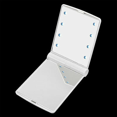 LED Pocket makeup mirror foldable with lights cosmetic - White X4C0